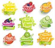 El sistema de la naranja, el limón, el smoothie de la cal y las etiquetas frescas salpican Fotografía de archivo libre de regalías