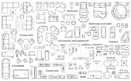 El sistema de la opinión superior de los muebles para los apartamentos planea La disposición del diseño del apartamento, dibujo t ilustración del vector
