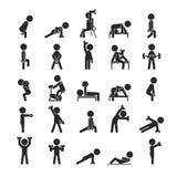 El sistema de la pesa de gimnasia ejercita el carácter, iconos humanos del pictograma Fotografía de archivo
