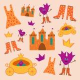 El sistema de la princesa con los coches, las botas, los castillos, los vestidos y las coronas libre illustration