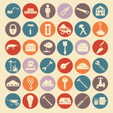 El sistema de la reparación de la casa equipa iconos Imagenes de archivo