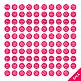 El sistema de la venta circular marca a partir el 2 a 99 por ciento con etiqueta para el web stock de ilustración