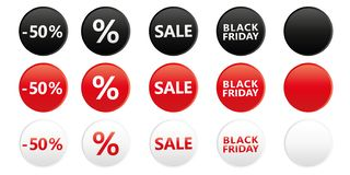 El sistema de la venta negra redonda de viernes marca con etiqueta para la promoción en colores blancos y negros rojos libre illustration