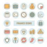 El sistema de las finanzas y el dinero vector iconos lineares Fotografía de archivo