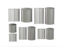 El sistema de las latas de aluminio en diversos tamaños, trayectoria de recortes incluye Fotografía de archivo libre de regalías