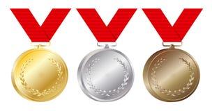 El sistema de las medallas del oro, de plata y de bronce vector el ejemplo en blanco Imagenes de archivo