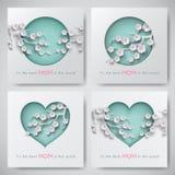 El sistema de las tarjetas de felicitación para el día del ` s de la madre con las mujeres y las siluetas del bebé con la enhorab Imagen de archivo