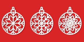 El sistema de Libro Blanco cortó la ISO gráfica de los iconos de la chuchería de la Navidad del vector libre illustration