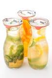 El sistema de limonada de tres veranos con hielo y la fruta les gusta la hoja del limón, de la naranja, de la cal y de la menta,  Fotografía de archivo