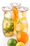 El sistema de limonada de tres veranos con hielo y la fruta les gusta la hoja del limón, de la naranja, de la cal y de la menta,  Foto de archivo