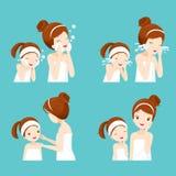 El sistema de limpieza de la madre y de la hija y cuida su cara Fotos de archivo libres de regalías