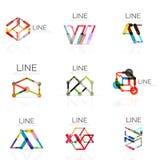 El sistema de logotipos abstractos lineares, los segmentos multicolores conectados alinea en figuras geométricas Imagen de archivo libre de regalías