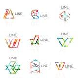 El sistema de logotipos abstractos lineares, los segmentos multicolores conectados alinea en figuras geométricas Fotografía de archivo