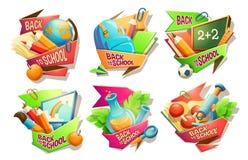 El sistema de los ejemplos de la historieta del vector, insignias, etiquetas engomadas, emblemas, coloreó iconos de las fuentes d stock de ilustración
