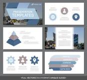El sistema de los elementos azules y marrones para la plantilla multiusos de la presentación resbala con los gráficos y las carta Fotografía de archivo