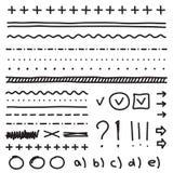 El sistema de los elementos del dibujo de la mano para corrige y selecciona Foto de archivo libre de regalías