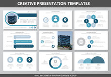 El sistema de los elementos grises y azules para la plantilla multiusos de la presentación resbala con los gráficos y las cartas  Foto de archivo libre de regalías
