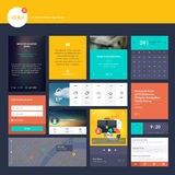 El sistema de los elementos planos del diseño para el sitio web y el app móvil diseñan el desarrollo Fotografía de archivo