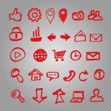 El sistema de los iconos del vector para el sitio hizo al marcador Imagen de archivo
