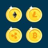 El sistema de los iconos Litecoin, ondulación, Ethereum, bitcoin acuña en el fondo negro aislado Imágenes de archivo libres de regalías