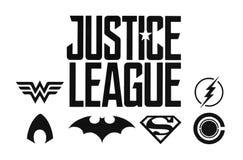 El sistema de los tebeos de League DC de la justicia ennegrece logotipos stock de ilustración