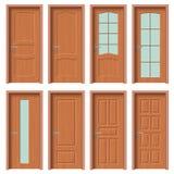 El sistema de madera de la puerta, apartamento interior a puerta cerrada con hierro se articula ilustración del vector