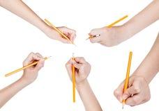 El sistema de manos dibuja por el lápiz de ventaja aislado Foto de archivo libre de regalías