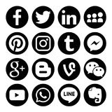 El sistema de medios logotipos sociales populares vector el icono del web Fotografía de archivo
