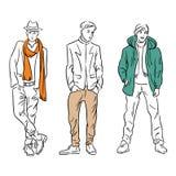 El sistema de modelos de moda de los hombres en la primavera viste ilustración del vector