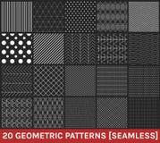 El sistema de 20 modelos geométricos abstractos ennegrece el fondo Fotos de archivo