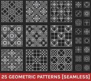 El sistema de 25 modelos geométricos abstractos ennegrece el fondo Fotos de archivo