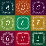 El sistema de monogramas da el estilo exhausto colorido con Imágenes de archivo libres de regalías