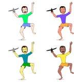 El sistema de muchachos que jugaban con Toy Aircraft colorized Imagen de archivo