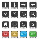 El sistema de navegación del web abotona iconos Imagenes de archivo