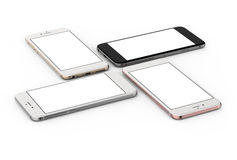 El sistema de oro de cuatro smartphones, subió, plata y negro Fotos de archivo