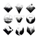 El sistema de paisajes monocromáticos en formas geométricas circunda, triángulo, Rhombus Paisajes naturales con los bosques salva libre illustration