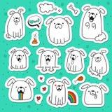 El sistema de 10 perros garabatea etiquetas engomadas hechas a mano Perros con emociones Imagen de archivo