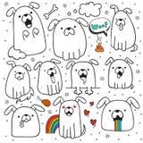 El sistema de 10 perros garabatea hecho a mano Perros con emociones ilustración del vector