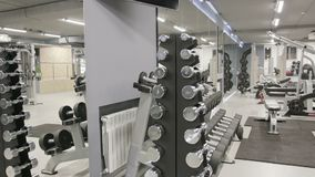 El sistema de pesas de gimnasia de diferente sizen almacen de video