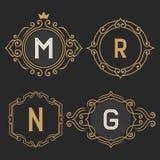 El sistema de plantillas elegantes del emblema y del logotipo del monograma del vintage Imagenes de archivo