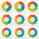 El sistema de plantillas poligonales de la carta del círculo con 4-12 parte Imágenes de archivo libres de regalías