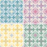 El sistema de portugués adornado tradicional y del brasileño teja azulejos Ilustración del vector 4 variaciones del color stock de ilustración
