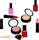 El sistema de productos de belleza, lápiz labial, esmalte de uñas, polvo, se ruboriza ilustración del vector