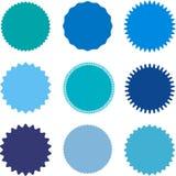 El sistema de starburst, resplandor solar badges, las etiquetas, etiquetas engomadas Diversas sombras del color azul fotos de archivo libres de regalías