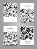 El sistema de tarjetas con el modelo de la marijuana se va stock de ilustración