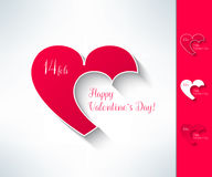 El sistema de tarjetas del día de San Valentín del vector junta la muestra con dos corazones en diseño plano moderno Elemento del Foto de archivo libre de regalías