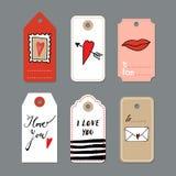 El sistema de tarjetas dibujadas mano linda del día de tarjetas del día de San Valentín, regalo marca con etiqueta, s Foto de archivo libre de regalías