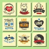 El sistema de tarjetas musicales del vintage da a amor exhausto de las plantillas los elementos musicales para el ejemplo del vec Fotografía de archivo libre de regalías