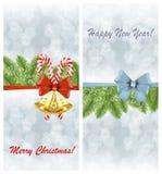 El sistema de tarjetas de Navidad con la rama spruce y el día de fiesta arquean ilustración del vector