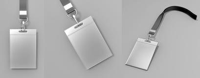 El sistema de tarjetas vacío en blanco de la identificación del plástico de la identificación con el corchete y los acolladores i Fotografía de archivo